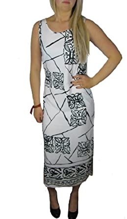 Ladies Black and White Abstract Calf length cocktail Dresses for women Dress Womens Size 12