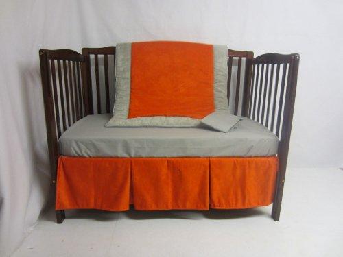 Baby Doll Zuma 4 Piece Crib Bedding Set, Grey/Pumpkin