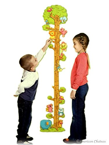 Kids Room Growth Chart Zoo Jungle Animals Wall Sticker Child Height New Deco