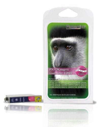 Pigmentixx PX-13K (magenta) 15ml! - Kompatible Druckerpatrone - Tintenpatrone Ersetzt Epson T0893 (weitere Farben: T0891, T0892, T0894, T0895 Multipack) z.T. auch T0713 (weitere Farben: T0711, T0712, T0714, T0715 Multipack) Kompatibel mit: Epson Stylus SX100, SX105, SX110, SX115, SX200, SX205, SX209, SX210, SX215, SX218, SX400, SX405, SX410, SX415, SX510, SX610 FW, SX600FW