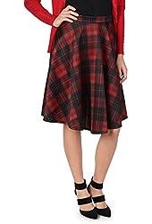 Brinley Co. Juniors Midi Plaid A-line Skirt