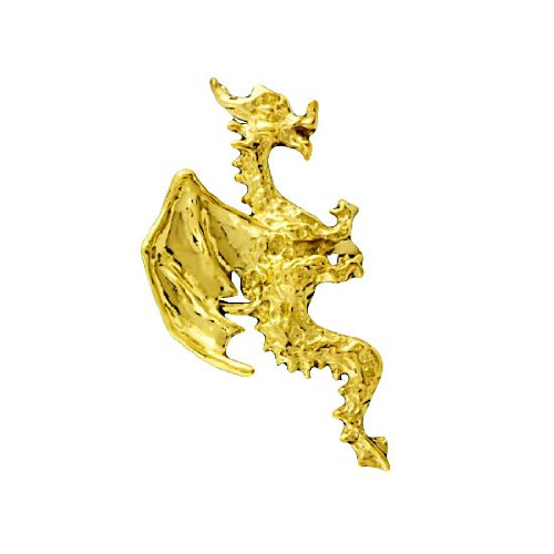Right Only Gold Vermeil Pierceless Flying Horned Dragon Ear Cuff