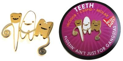 Teeth Lapel Pin Flossin' Ain't Just for Gangstas I Heart Guts Gold