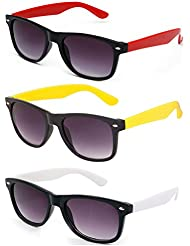 Freakii Combo Of 3 Cool Wayfarer Sunglasses Black Red,Black White And Black Yellow With UV And Glare Protection...