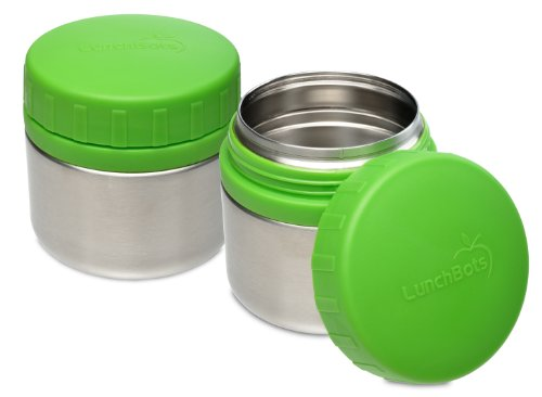 LunchBots Rounds Leak Proof Stainless Steel Food Containers Set of 2, 8-ounce, Green