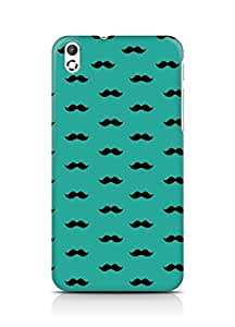 Amez designer printed 3d premium high quality back case cover for HTC Desire 816 (greenish blue moustache muchi beard)