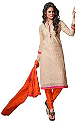 The Desi Attire Women's Chanderi Cotton Unsticthed Dress Material (8106_Grey_42)
