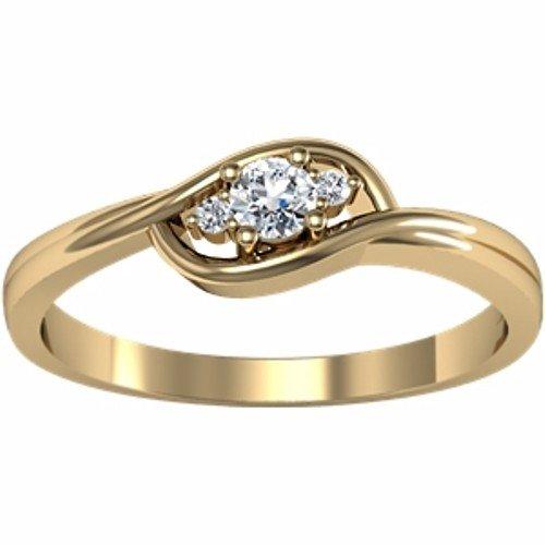 10K Yellow Gold Diamond Ring - 0.12 Ct. - Size 7.5