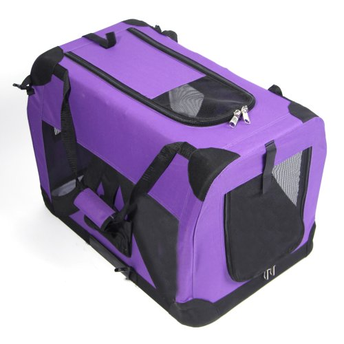 "Masione™ 28"" Purple Portable Pet Dog Cat House Soft Crate Carrier Cage Kennel L front-821360"
