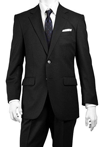 2ツボタン ツーパンツ スーツ ブラック無地(背抜き センターベント ワンタック 丸ごと洗える 上下ウォッシャブル フォーマル)