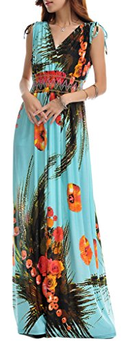 Wantdo Women's Printed Paris Bohemian Summer Maxi Dress Plus size,Blue,2