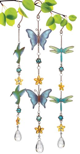 Grasslands Road Marble Hanging Decoration, 19-Inch, Butterfly, Dragonfly And Hummingbird, 6-Pack
