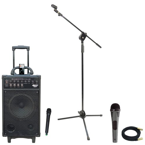Pyle Speaker, Mic, Stand And Cable Package - Pwma860I 500W Vhf Wireless Portable Pa System /Echo W/Ipod Dock - Pdmik2 Professional Moving Coil Dynamic Handheld Microphone - Pmks3 Tripod Microphone Stand W/ Extending Boom - Ppmcl30 30Ft. Symmetric Micropho