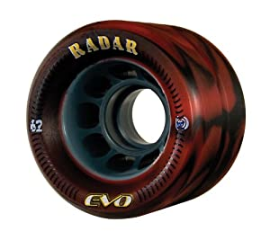Radar Wheels EVO Roller Skate Wheel,Red/Black,62