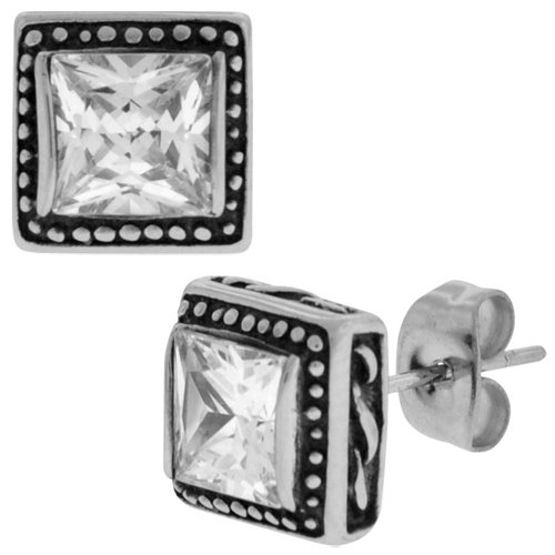 Inox Jewelry Single cz Square Frame Set 316L Stainless Steel Stud Earrings