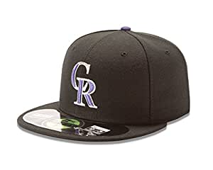MLB Colorado Rockies Game Youth AC On Field 59Fifty Fitted Cap, Black, 6 3/8