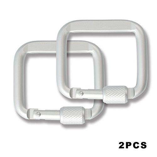 Outdoor Carabiner Key Chain Mountaineering Hook Backpack Buckle, Aluminum Alloy Square Ring Shape Buckle (Silver, 2pcs)