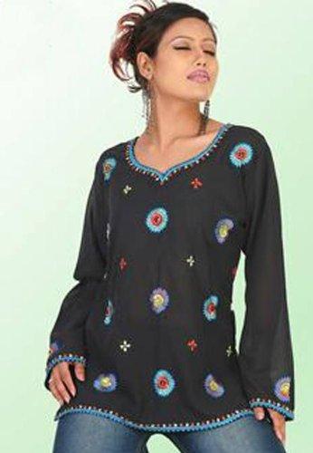 Womens U neck Embroidery work Long sleeve black color tunics / dresses / blouses