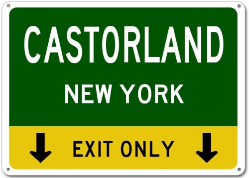 CASTORLAND, NEW YORK This Exit Only Aluminum Sign kate spade new york сумка на руку