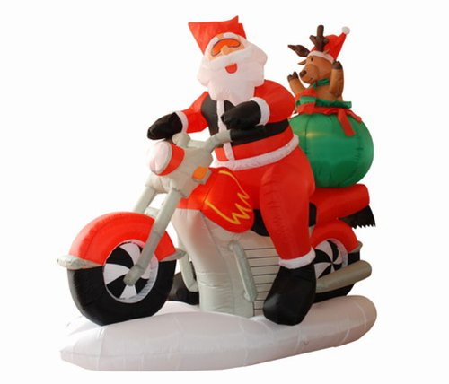 6.5' Airblown Inflatable Santa Claus On Motorcycle Lighted Christmas Yard Art Decoration front-93257