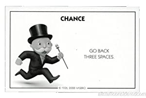 Amazon.com: Monopoly Chance Card Go Back Three Spaces - Replacement: Toys & Games