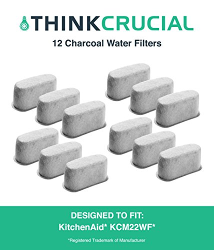 12 Premium KitchenAid Charcoal Coffee Filters, Fit KCM222 & KCM223 Water Filter Pod & Coffee Makers, Compare to Part # KCM22WF, by Think Crucial