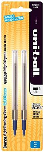 Recharges pour ® uni-ball Power Tank RT Stylo bille encre bleue, Point Bold, Lot de 2 (SAN42083)