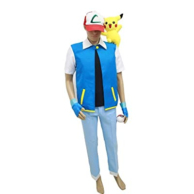 Amazon.com: Pokemon Ash Ketchum Royal Blue jacket Costume Cosplay
