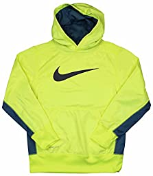 Boy\'s Nike KO 2.0 Pullover Training Hoodie Volt/Grey Size Medium