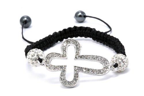 Authentic Diamond Color Crystals Cross Shape Adjustable Bracelet, Now At Our Lowest Price Ever but Only for a Limited Time!
