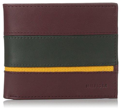 1999bba87 Billetera Tommy Hilfiger para hombre, de doble compartimiento, con retazos  rayados, color guinda, tamaño único.
