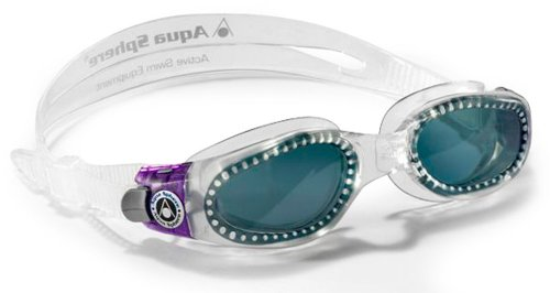 Aqua Sphere Women's Kaiman Swimming Goggle - Transparent/Purple Frame/Tinted Lens, Small Face