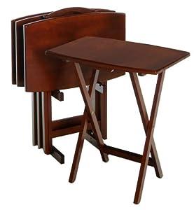 Amazon Com Winsome Wood Tv Table Set Walnut Portable
