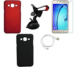 NIROSHA Tempered Glass Screen Guard Cover Case USB Cable Mobile Holder for Samsung Galaxy J3 - Combo