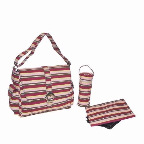 Canvas Buckle Bag - Canvas Chameleon Stripes - Pink