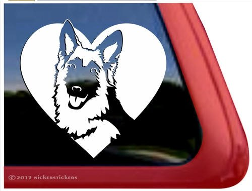 Love German Shepherd Dog Heart Face Window Decal front-540706