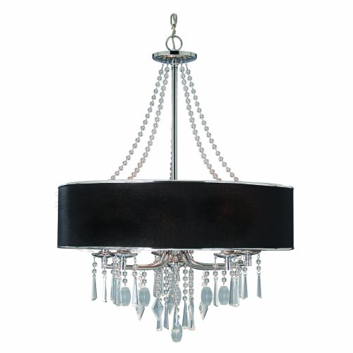 B003B1YNR6 Golden Lighting 89815GRM  Chandelier with Crystal And Black Tuxedo Shades,  Chrome Finish