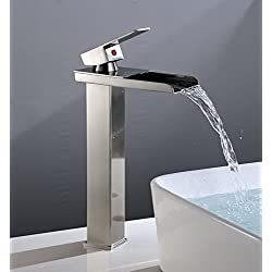 Eyekepper Tall Nickel Brushed Waterfall Bathroom Sink Vessel faucet Open Channel Basin Mixer Tap Long Bath Spout