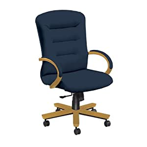 National Office Furniture Remedy High Back Executive Wood Office Chair, Honey Maple, Navy Fabric