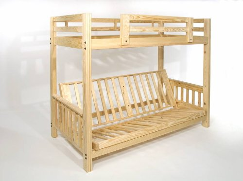 Queen Futon Bunk Bed - Frame Only - Eco-Friendly - Solid Wood - Usa