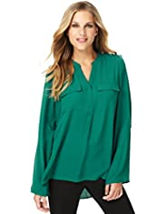 Open Neck Collar Oblong Blouse