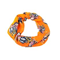 Cozzy Land Floral Skull Woven Scarf-Orange-42 inches wide x 70 inches long