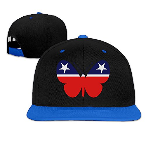 Show Time Vote Butterfly Party Outdoor Brim Cap Adjustable Flat Bill Cap RoyalBlue
