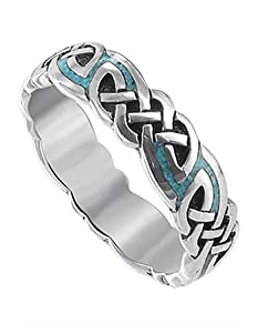 Sterling Silver Turqouise Inlay Celtic Southwestern 6mm Band Ring Size 6