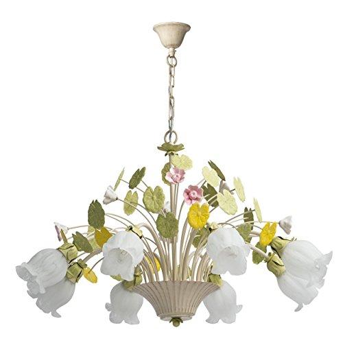 Lampadario da soffitto pendente fiore decorativo primaverile metallo dipinto in bianco e verde stile barocco Ø72cm 8-bulb exl, E14 8x40W 230V