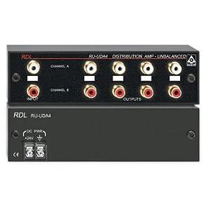 rdl ru uda4 audio distribution amplifier stereo unbalanced line level 4 outputs per channel. Black Bedroom Furniture Sets. Home Design Ideas