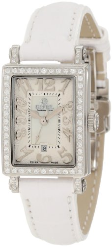 Gevril Women's 8249NL Super Mini Quartz White Mother of Pearl Diamond Watch