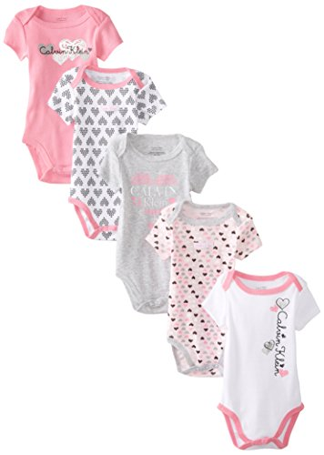 Calvin Klein Baby-Girls Newborn 5 Pack Gray And Pink Bodysuit , Multi, 0-3 Months