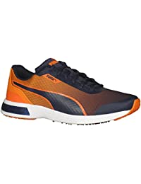 Puma 359121 Mens T 74 Tech Running Shoe, Peacoat-Peacoat-Vermillion Orange