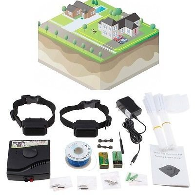 Waterproof Underground Electric Shock Dog Collar Fence System For 2 Dog